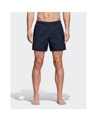 Adidas Originals Blue Solid Swim Shorts for men