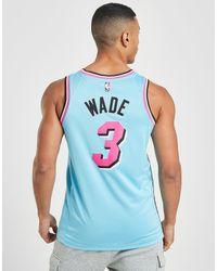 NBA Miami Heat Wade #3 Swingman Maglia di Nike in Blue da Uomo