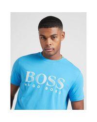 BOSS by Hugo Boss Blue Swim Logo Short Sleeve T-shirt for men