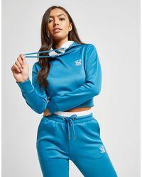 Sweat à capuche Poly Tape Crop Femme Siksilk en coloris Blue