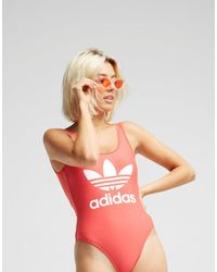 5a0de11694302 adidas Originals 3-stripes Trefoil Swimsuit in White - Lyst