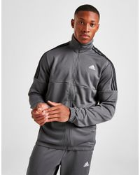 Adidas Gray 3-stripes Poly Track Top for men