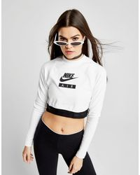 9ecfd54355531 Lyst - Nike Air Long Sleeve Crop Top in White