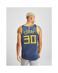 Nike Synthetic Nba Curry Golden State Warriors City Jersey In Blue Yellow Blue For Men Lyst