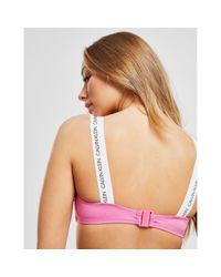 Calvin Klein Pink Bandeau Bikini Top - Ck Logo