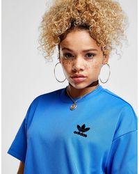 Adidas Originals - Blue Ribbed Short Sleeve Dress - Lyst