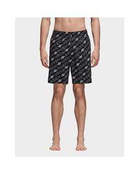 Adidas Black Monogram Swim Shorts for men