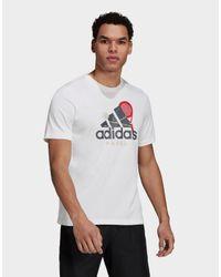 Adidas White Padel Graphic Logo T-shirt for men