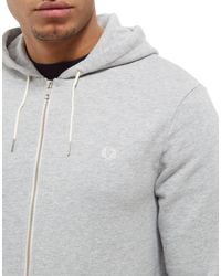 Fred Perry Gray Core Zip Through Hoodie for men