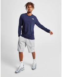 The North Face Blue Simple Dome Long Sleeve T-shirt for men
