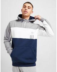 Adidas Originals Blue Id96 1/2 Zip Hoodie for men