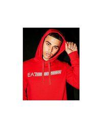 EA7 7 Lines Reflective Large Logo Hoodie Herren in Red für Herren