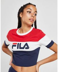 Fila Blue Colour Block Crop T-shirt