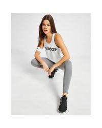 Adidas White Linear Tank Top