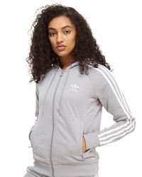 Lyst adidas Originals 3 stripes Full Zip Hoodie in Gray
