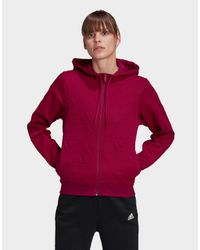 Adidas Red Aeroready Jacquard Full-zip Logo Hoodie