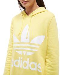 Adidas Originals - Yellow Trefoil Overhead Hoodie - Lyst