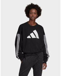Adidas Originals Black Adjustable 3-stripes Sweatshirt
