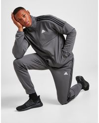Adidas Gray 3-stripes Poly Track Pants for men