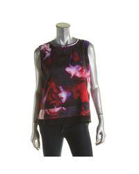 Calvin Klein - Multicolor Womens Chiffon Floral Print Tank Top - Lyst