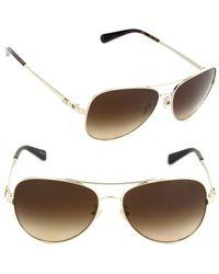 84275b371c Lyst - COACH Hc7074-931013-59 Pilot Sunglasses Light Gold brown ...