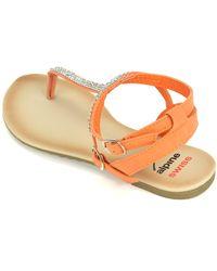 Alpine Swiss - Orange Gladiator Sandals T-strap Slingback Roman Rhinestone Flats - Lyst