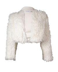 Calvin Klein - Multicolor Eggshell Faux Fur Bolero Shrug Size L - Lyst