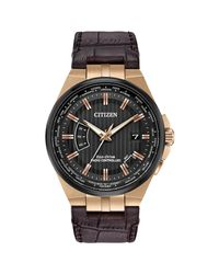 Citizen - Metallic Cb0168-08e World Perpetual A-t Watch Brown 42mm Rose Gold Stainless Steel for Men - Lyst