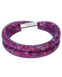 Swarovski - Purple Stardust Crystal Filled Mesh Wrap Bracelet - Lyst