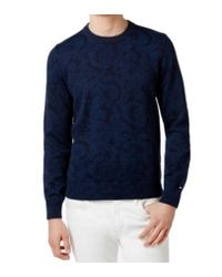 52860e0ecc Lyst - Tommy Hilfiger Blue Medium M Ribbed Paisley Crewneck Sweater ...