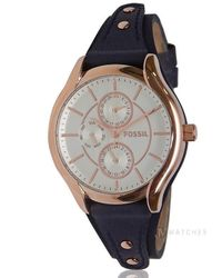 Fossil | Multicolor Brand New Womens (bq3138) Blue Leather Strap Boyfriend Rose Gold Watch | Lyst