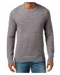 Tommy Hilfiger - Gray Red Men Medium M Pullover Knit Crewneck Sweater for Men - Lyst