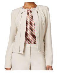 Calvin Klein - Natural Petites Zipper Detail Open Front Collarless Blazer - Lyst
