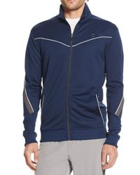 Calvin Klein - Blue Perforated Zip Jacket for Men - Lyst