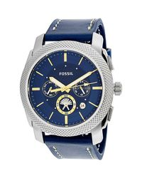 Fossil | Metallic Machine Fs5262 Silver Leather Quartz Dress Watch for Men | Lyst