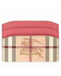 Burberry - Haymarket Check And Leather Card Case Plum Pink - Lyst