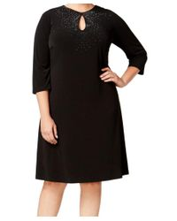 Calvin Klein - Black Jeweled Neckline 16w Plus Shift Dress - Lyst