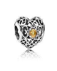 Pandora - Multicolor November Signature Heart Birthstone Charm - Lyst