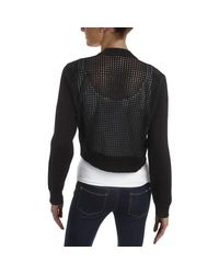 Tommy Hilfiger - Black Faux Suede Perforated Shrug Sweater - Lyst