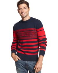 Tommy Hilfiger - Cabot Crew Neck Sweater Xxl 2xl Red & Blue Snowflake Stripes $98 for Men - Lyst