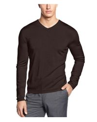 CALVIN KLEIN 205W39NYC - Brown Merino Solid Pullover Sweater for Men - Lyst