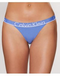 Calvin Klein - Blue Id Cotton Tanga - Lyst