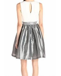 Calvin Klein - Multicolor White Gray Size 12 Sheath Embellished Dress - Lyst