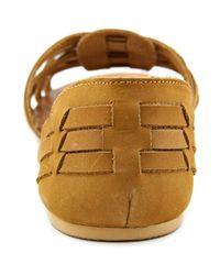 Steve Madden - Flute Women Open-toe Leather Brown Flats - Lyst