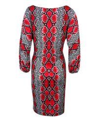 Calvin Klein - Red Boat Neck Snake Print Jersey Dress (4 - Lyst