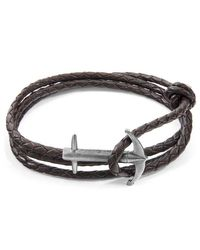 Anchor & Crew Dark Brown Admiral Anchor Silver And Braided Leather Bracelet