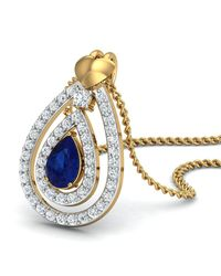 Diamoire Jewels - Metallic Nature Inspired Sapphire And Diamond Pendant In 18kt Yellow Gold - Lyst