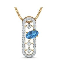Diamoire Jewels - Metallic Nature Inspired Oval Aquamarine Pendant With Premium Diamonds In 10kt Yellow Gold - Lyst