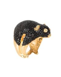 Latelita London - Metallic Possum Ring Gold Black Zircon - Lyst