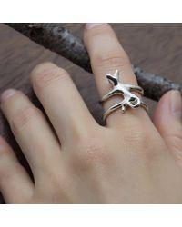 ileava jewelry Metallic Sterling Silver Hug Cat Ring |